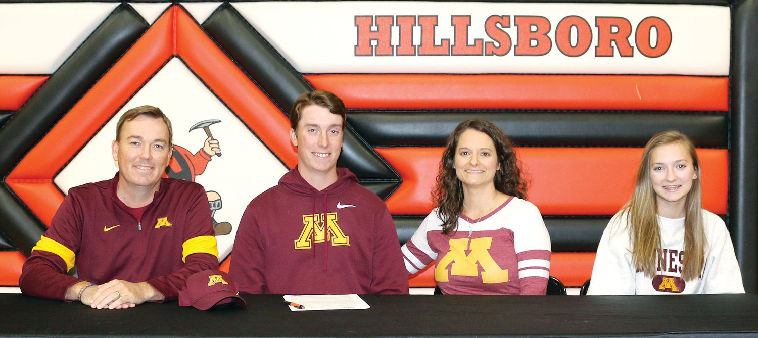 Hillsboro High School senior Alex Eickhoff signed his national letter of intent to play golf for the University of Minnesota on Wedneday, Nov. 13, at the Hillsboro High School gym. Joining Eickhoff were his father and high school coach, Jeff, his mother, Angie, and his sister, Maddie.