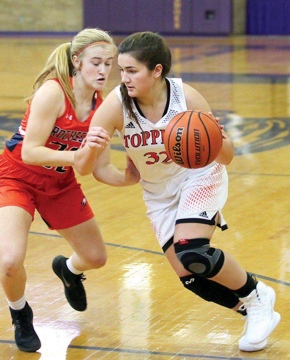 Hillsboro's Emily Reynolds had seven points in the Toppers' 47-34 loss to Rochester at the Taylorville Thanksgiving Tournament on Saturday, Nov. 23.