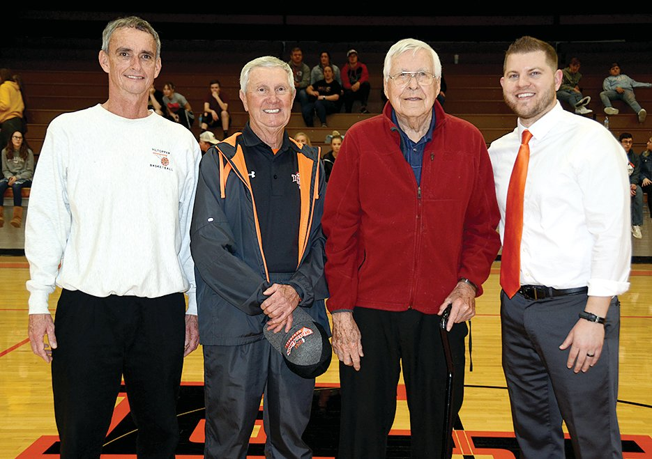 The four coaches above, from the left, Dyke Buerkett, Harlan Scheibal, Stan Horst and Joe Vanzo have accounted for 661 of Hillsboro's 1,510 wins, with 51 years of coaching the Toppers between them.