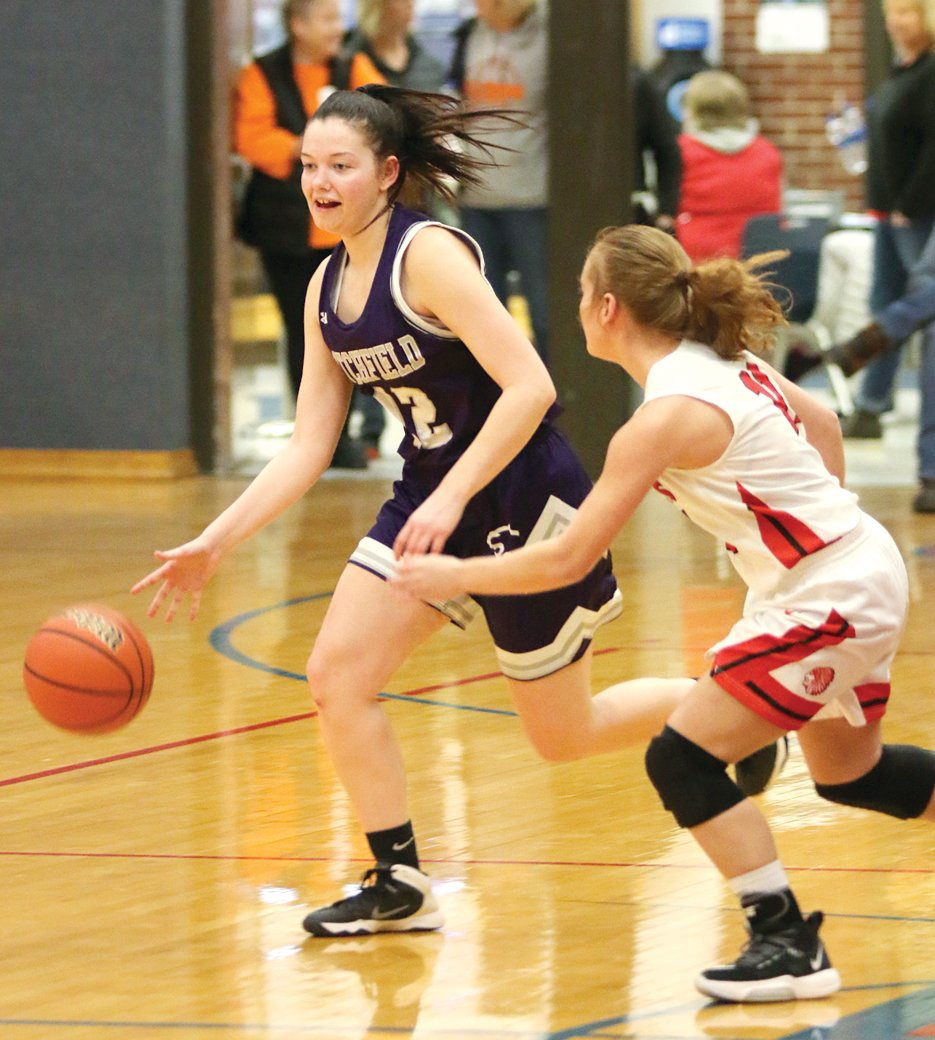 Litchfield senior Carson Jackson brings the ball down the floor for the Lady Panthers, who saw their season come to an end on Monday, Feb. 10, with a 42-28 loss to Pittsfield at the Carlinville Regional.