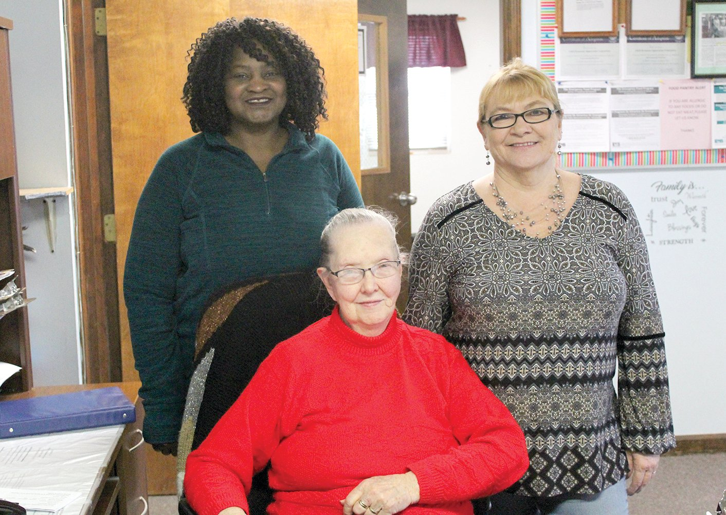 As a volunteer for CEFS, one of Mary Guinn's favorite things is interacting with clients and those she works with, including the ones pictured above. From the left are CEFS Outreach Coordinator Charity Griggs, Guinn and CEFS Outreach Housing Counselor Brenda Decker.