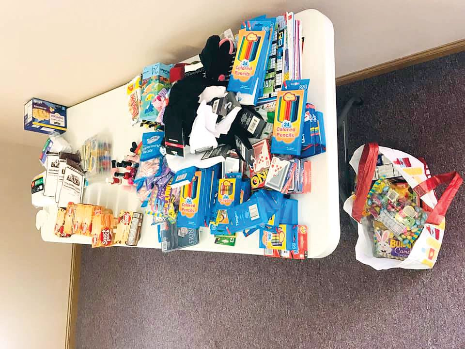 Pictured above are some items that filled 180 goodie bags for local nursing home residents.