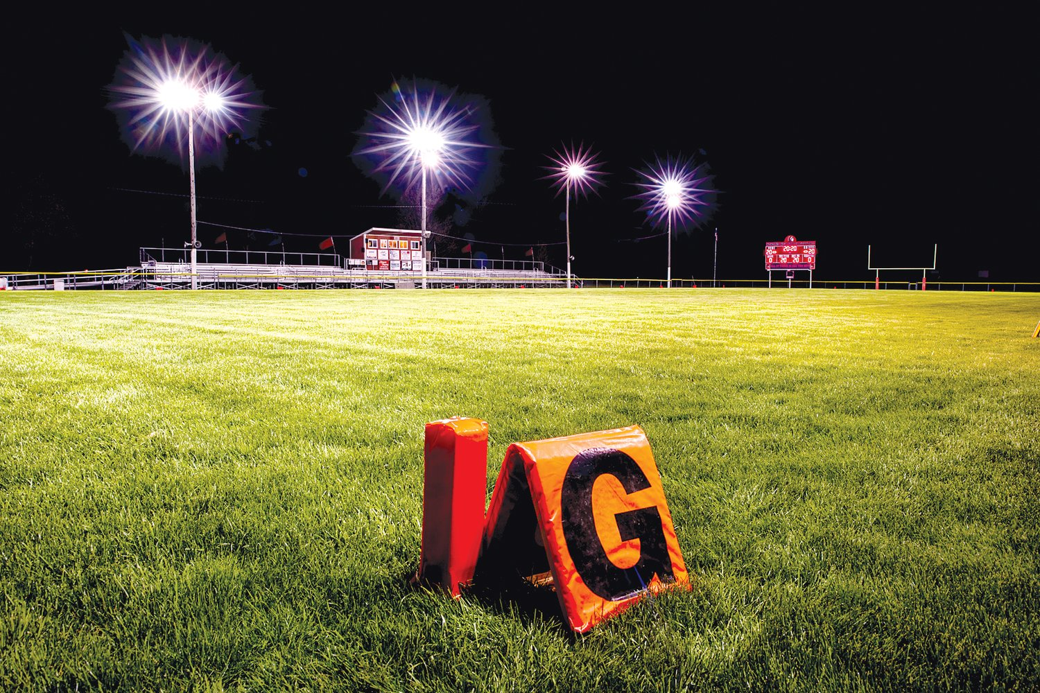 The lights were on at football fields and other sports fields across Montgomery County and the state on Friday night, but not for the usual reason. Schools throughout Illinois turned on the lights at their playing fields as a part of Lights For The Fight, a show of support for the Class of 2020, who had their senior year cut short on Friday by order of Governor J.B. Pritzker. The lights glowed from 8:20 (20:20 military time) to 8:40 at Nokomis (above), Litchfield, Lincolnwood and Hillsboro on Friday, with the project also a way for those communities to show support for healthcare workers, first responders and all other essential workers on the frontlines of the COVID-19 pandemic.