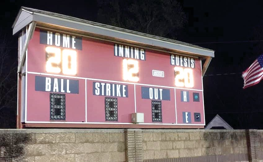 "Usually it's the Mohawks who light up the scoreboard at Memorial Field in Morrisonville, but on Friday, April 17, it was Coach Mark Ferrill as part of the Lights For The Fight show of support for the class of 2020. Mohawk mom Ann Ganther snapped this photo for her son Dalton, a senior at Morrisonville and a member of the Morrisonville-Lincolnwood baseball team. ""He was so looking forward to baseball this year and this is the closest he will get to playing on the field this year,"" Ganther said on Facebook."