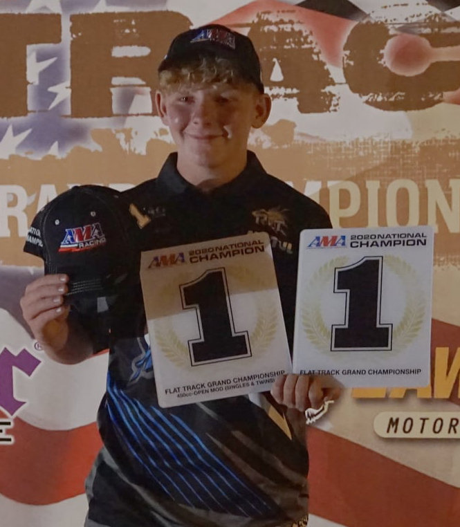 Hillsboro racer Chase Saathoff took home two national championships and two runner-up finishes from the 2020 AMA Flat Track Grand Championships, held June 20 through June 25 in Plymouth, IN, and Ashland, OH.
