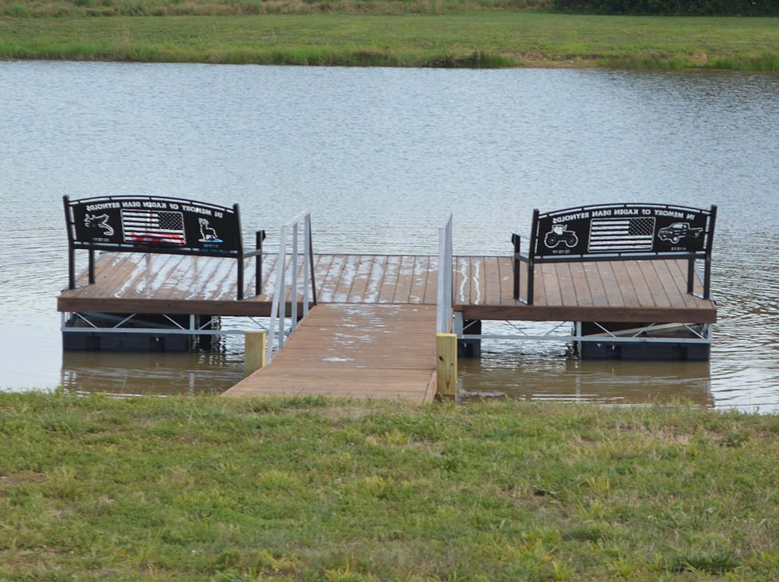 New benches and a dock at the Rountree Gun Club were dedicated this summer in memory of Kaden Reynolds.