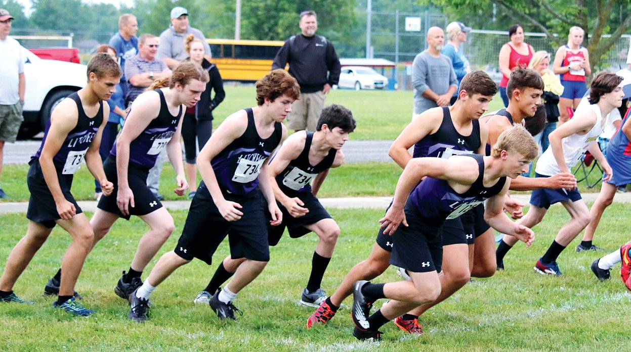 The Litchfield boys cross country team started their season on Tuesday, Sept. 1, with a second place finish at the Carlinville early meet. From the left are Alex DeLaCruz, Eithan Rigsbey, Brayden Davis, Kevin Pollard, Camden Quarton, Gavin Thimsen and Will Carlile, who placed fourth overall at the meet.