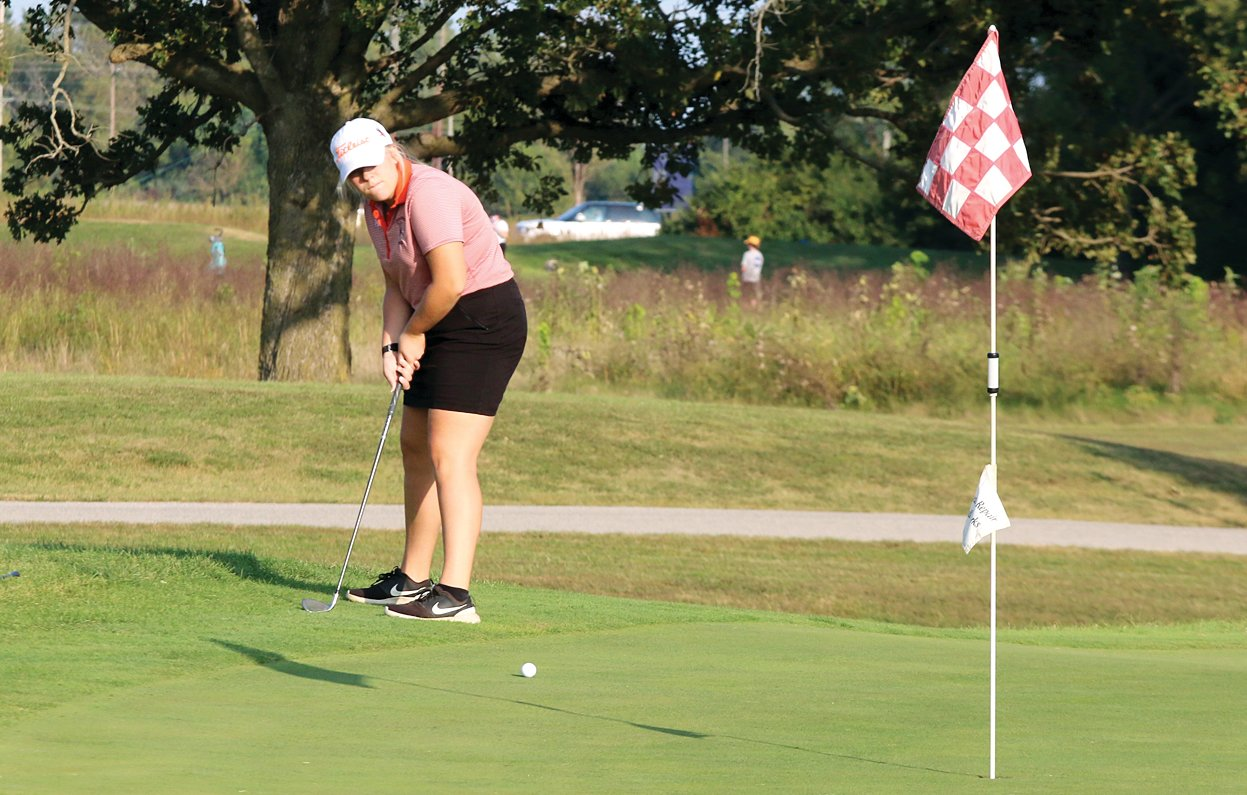Lincolnwood's Jordyn Gerlach chips in from the fringe during the Lady Lancers' match in Staunton on Monday, Sept. 21. Gerlach would go par-birdie on the sixth and seventh holes and shot the Lancers' second lowest round, a 51, at Timber Lakes on Monday.