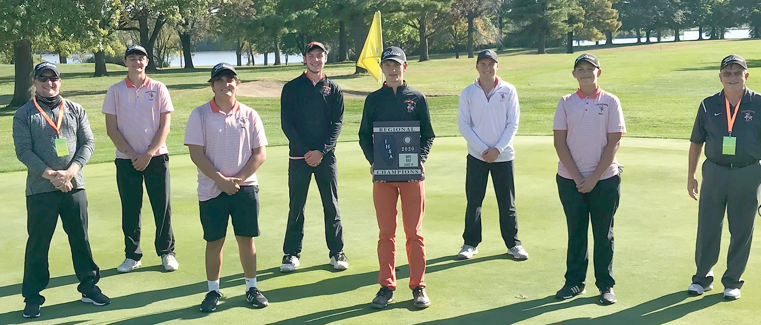 For the first time since 2009, the Lincolnwood-Morrisonville boys golf team are regional champions. Team members, from the left, are Assistant Coach Matt Millburg, Michael Jones, Michael Graham, Devin Brown, Braxton Schmedeke, Will Jenkins, Nate Brockmeyer and Head Coach Verne Pinkston.