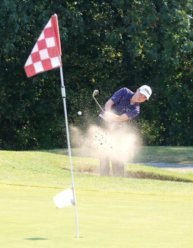 Litchfield's Keagan Marten blasts a shot out of the sand during his round at the Mt. Olive Regional on Tuesday, Oct. 6. Marten would shoot a 96 for the Panthers, who finished with a 368 as a team, good for fifth place overall.