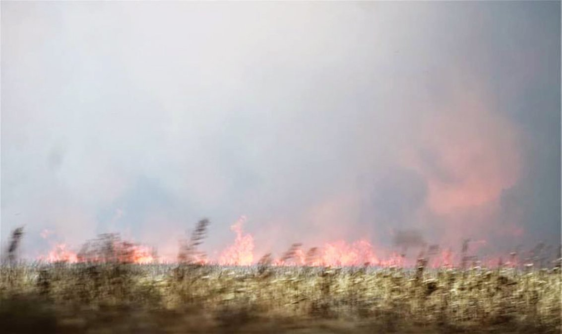 Fire raced across unharvested fields of corn in the blaze that engulfed more about 28 square miles Saturday.