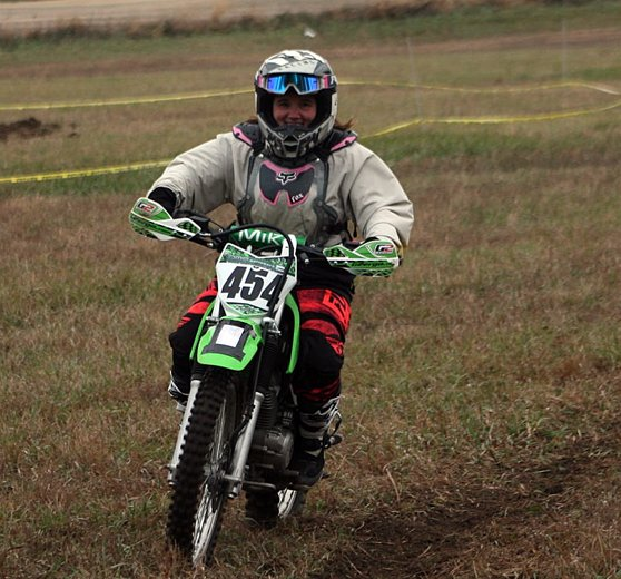 Alison Lentz of Walshville hit the trails in Keithsburg on Sunday, Nov. 15, joining son, Travis, at the WFO Productions hare scrambles.