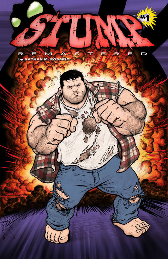 "The new and remastered version of Nathan Rosario's graphic novel, ""Stump"", launched recently, with it's main protagonist in full color on the front cover."