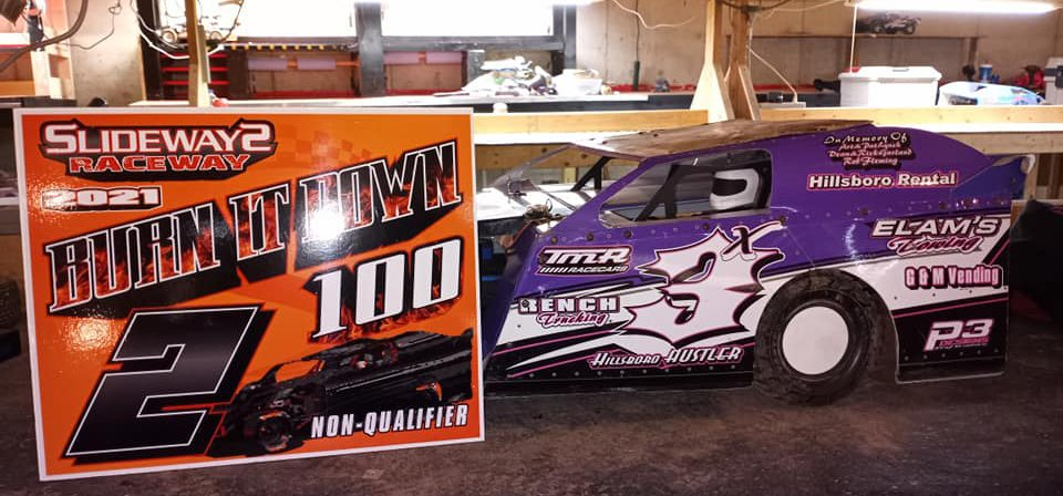 Jason Williamson's 3x Hillsboro Hustler B-Mod took second place in the Burn It Down 100 non-qualifier feature at Slideways Raceway in Brownstown, giving the radio controlled race team a solid start to the new year.