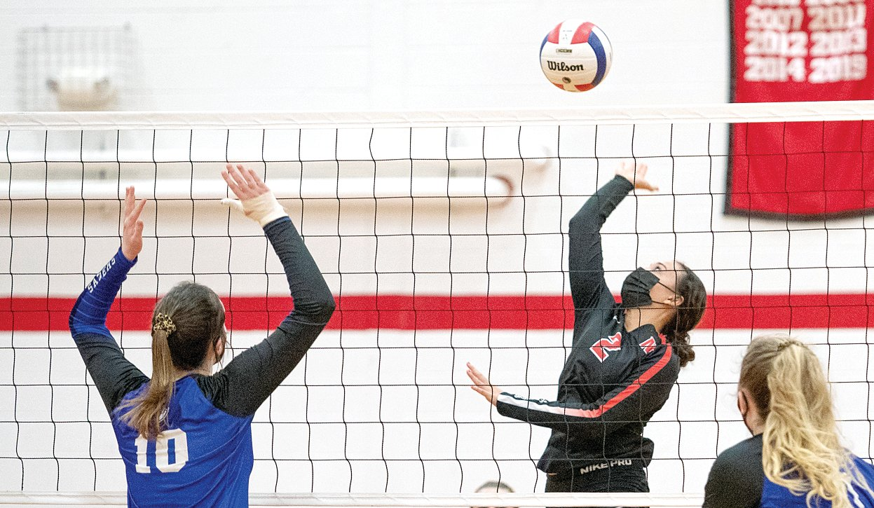 Nokomis' Olivia Taylor was one of three players to have two kills for the Lady Redskins during Tuesday's match with Lutheran, but the Crusaders lived up to the hype of being one of the area's best teams and dispatched the home team in two sets, 25-10, 25-6.