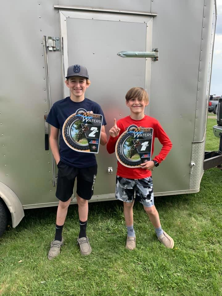 The Duff brothers of Donnellson each scored a top two finish at the Muddy Waters MX Park on April 18. Zach Duff (left) would finish second in the 85cc class, while Cooper Duff (right) was first in the 65cc class.
