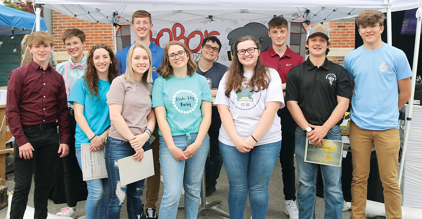 Students in this year's Montgomery County CEO class presented their personal businesses at this year's Trade Show, held April 27. Pictured above, from the left are Colin Woods-Butller, Monica Dudek, Brook Ozier, MaKynna Johnson, Dawsen Loafman, Courtney Meyer, Griffin Wright, Maia Casterline, Filip Kates, Sam Terneus and Kendall Knodle.