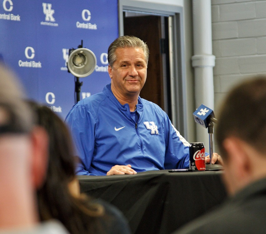 Kentucky coach John Calipari answers a question during Media Day Thursday at Memorial Coliseum. Calipari is entering his 10th season as coach of the Wildcats. (Kentucky Today/Tammie Brown)