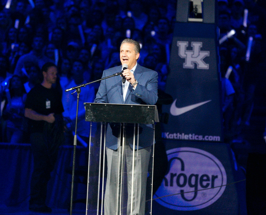 Kentucky men's basketball coach John Calipari addresses the crowd during Big Blue Madness Friday night at Rupp Arena. Calipari is entering his 10th season as coach of the Wildcats. (Kentucky Today/Tammie Brown)