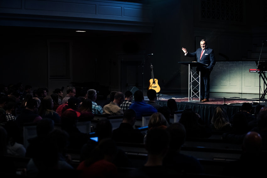 "Ligon Duncan, chancellor of Reformed Theological Seminary, said Christian worship should be ""Bible-saturated and Bible-directed"" during Doxology and Theology conference at The Southern Baptist Theological Seminary Nov. 8-10, 2018. (SBTS photo)"