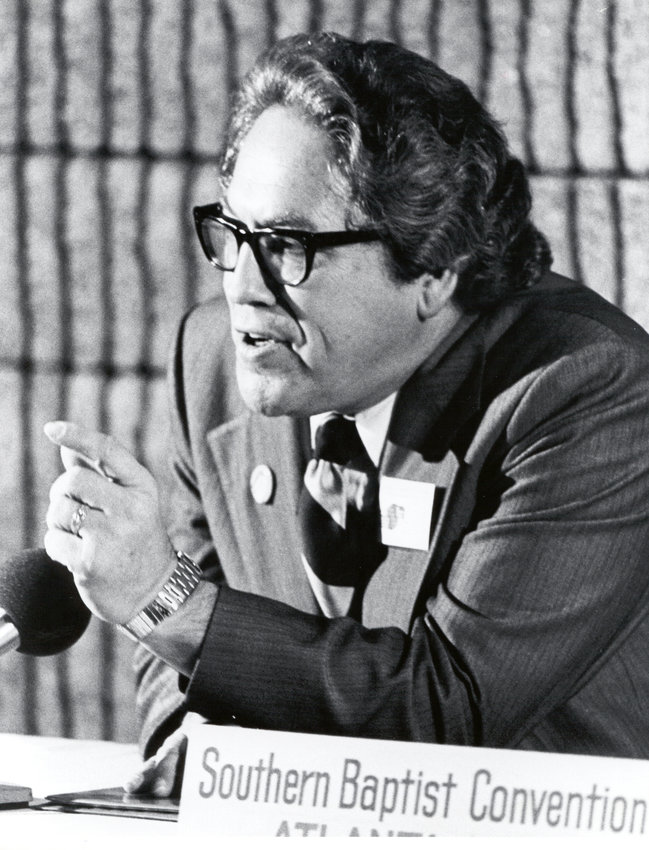 "Former Southern Baptist Convention President Jimmy Allen, pictured here at a press conference during the 1978 SBC annual meeting, was remembered as ""driven"" and an ""energetic dreamer."" (SBHLA photo)"