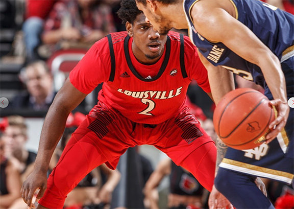 Darius Perry lines up an opponent on defense. He will be counted on heavily for Louisville during the NCAA tournament that begins Thursday for the Cardinals against Minnesota. (Louisville Athletics photo)