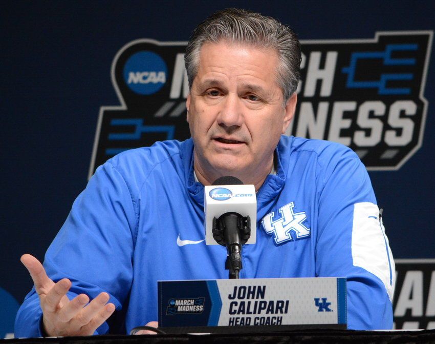 Kentucky coach John Calipari addresses the media during a press conference Wednesday in Jacksonville. The Wildcats take on Abeline Christian Thursday at 7:10 p.m. in opening round of the NCAA Tournament. (Kentucky Today/Keith Taylor)