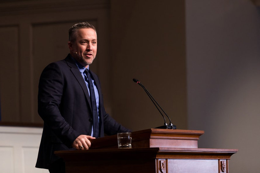 """J.D. Greear, president of the Southern Baptist Convention, speaks on the role of """"ordinary people"""" in spreading the Gospel. (SBTS photo)"""