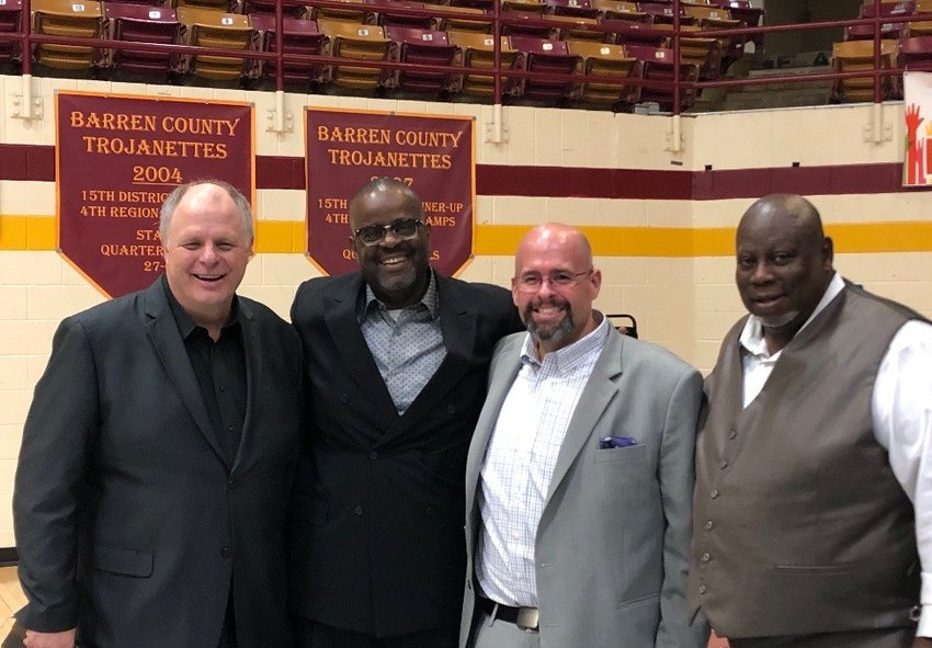 Barren County pastors Ray Woodie (Coral Hill Baptist), Michael Rice (First Baptist Church Glasgow), Jeremy Atwood (Immanuel Baptist) and Keith Rowlett (Harlow's Chapel Baptist) have formed an alliance. They brought all four churches under one roof at Easter for the second year in a row. A crowd of nearly 1,200 attended at Barren County High School's gymnasium. (Submitted photo)