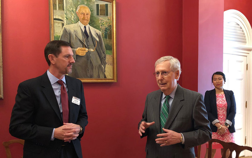 International Mission Board President Paul Chitwood (left) discusses the global refugee crisis with U.S. Senate Majority Leader Mitch McConnell (R-KY) on May 16 in Washington, D.C.  (IMB Photo)