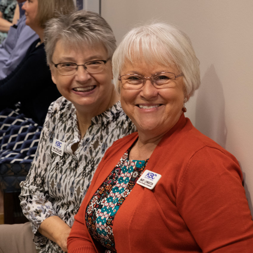 Pam Stallard, left, and Mary Livingston celebrate a combined 50 years with the Kentucky Baptist Convention. The two women met on the job in the late 90s and developed a close friendship through the years. (Kentucky Today/Robin Cornetet)