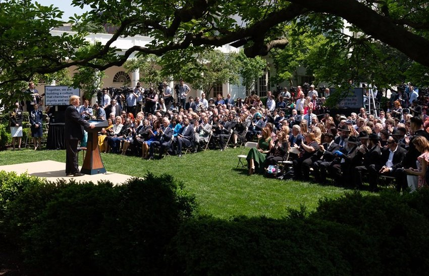 Billy Graham Evangelistic Association leader Franklin Graham has called a June 2 day of prayer for President Donald Trump, shown in the Rose Garden during a recent National Day of Prayer event. (White House file photo)