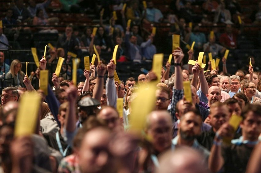 By overwhelming votes, Southern Baptists strengthened their stances against sexual abuse and racism during the opening day of their June 11-12 SBC annual meeting in Birmingham, Ala. (Photo by Van Payne)