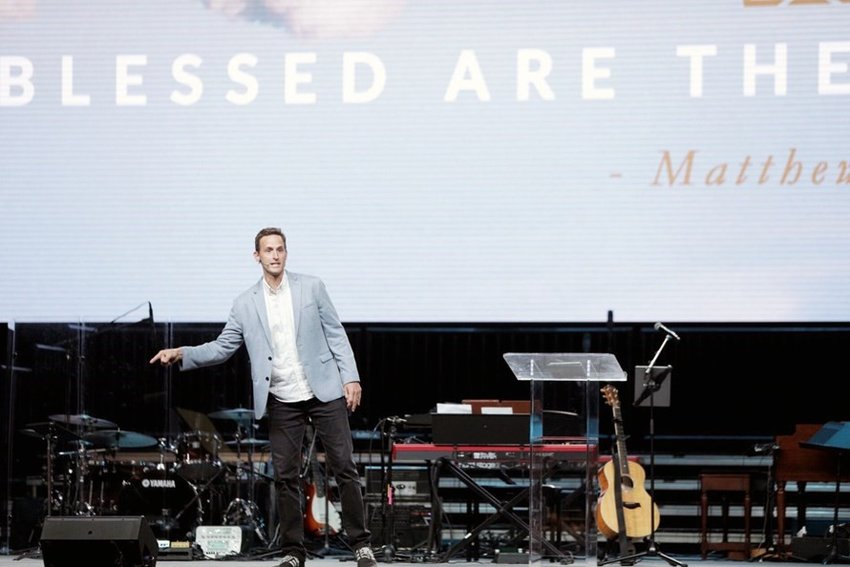 "Ben Mandrell, lead pastor of Storyline Fellowship in Denver, gives a message on ""Blessed are the Poor in Spirit"" June 10 on the last day of the two-day 2019 SBC Pastors' Conference in Birmingham, Ala. Mandrell was unanimously recommended by the LifeWay presidential search committee. (Photo courtesy of Storyline Fellowship)"