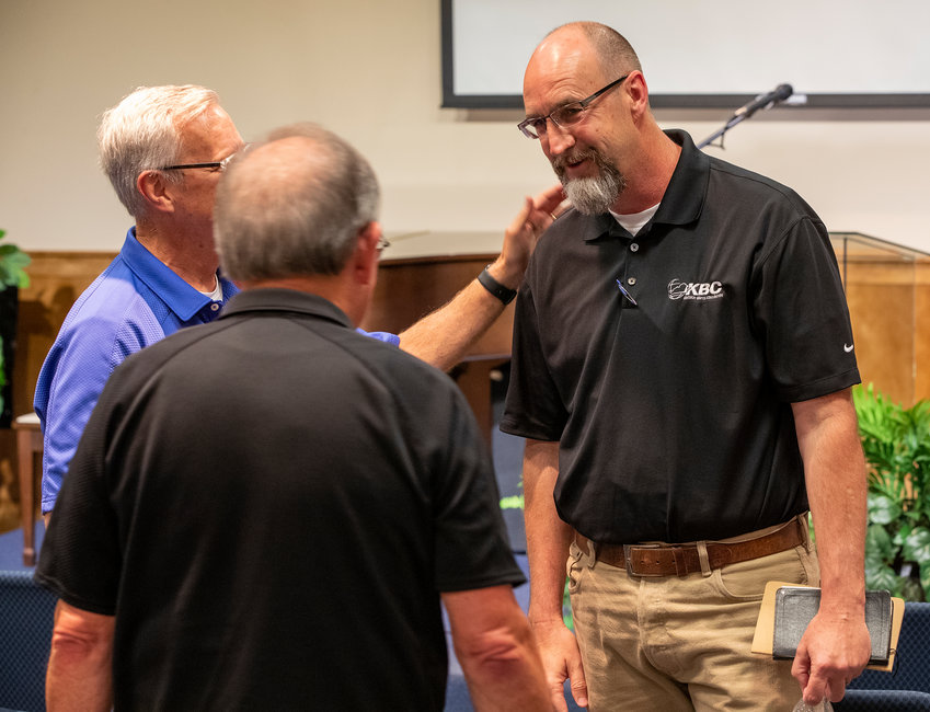 Kentucky Baptist Convention Evangelism Team Leader Todd Gray was congratulated by Mission Board staff for being selected as the candidate to fill the executive director-treasurer role.  Mission Board staff learned about Gray's selection via video from Search Committee Chairman Wes Fowler on Wednesday, July 17, 2019.  The KBC Mission Board will meet July 25 and vote on whether to confirm Gray. (Kentucky Today/Robin Cornetet)