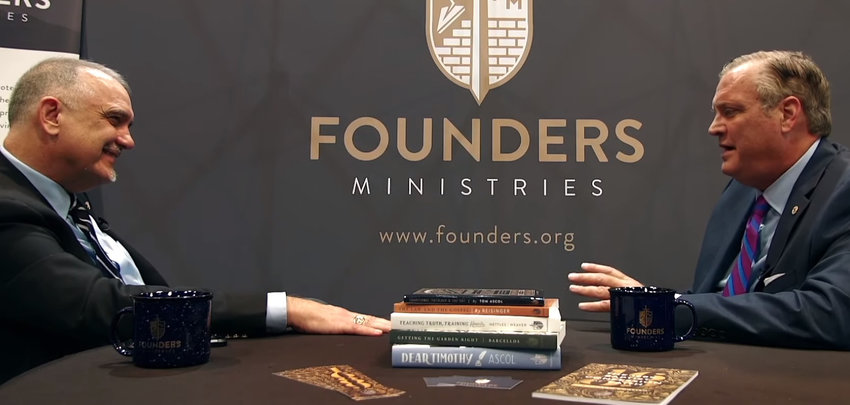 "R. Albert Mohler Jr. (right), is one of four Southern Baptist seminary presidents who have taken issue with a four-minute trailer for an upcoming documentary produced by the Founders Ministries, an organization founded in 1983 with a Calvinistic view of Baptist life and led by Florida pastor Tom Ascol (left). Mohler tweeted he is ""alarmed at how some respected SBC leaders are represented.(Screen capture from YouTube)"