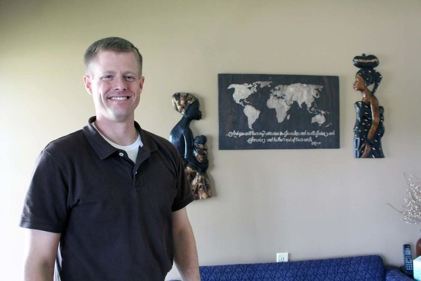 Jonathan Carl, who has served at South Fork Baptist Church since 2011, has decor reflecting his interest in and experience with foreign service projects. (News-Enterprise photo by Andrew Critchelow)