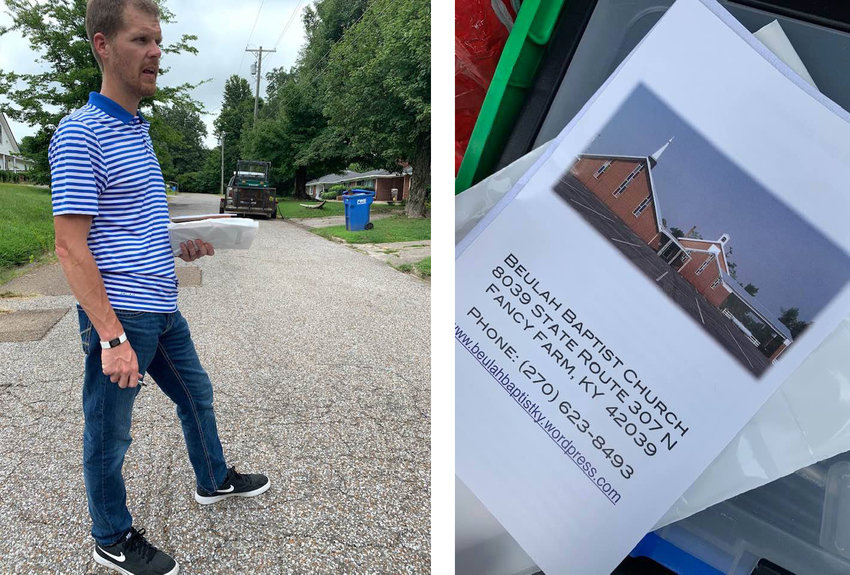 Ian Carrico, the pastor of Beulah Baptist Church in Fancy Farm, Ky., uses door-to-door evangelism as his main tool. He takes along literature about the church, including a map, and other spiritual material. (Submitted photos)