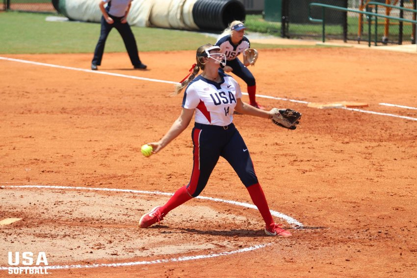 Montana Fouts pitches for the USA Junior National Team. She will be trying to make the US Olympic team this fall. (USA Softball photo)