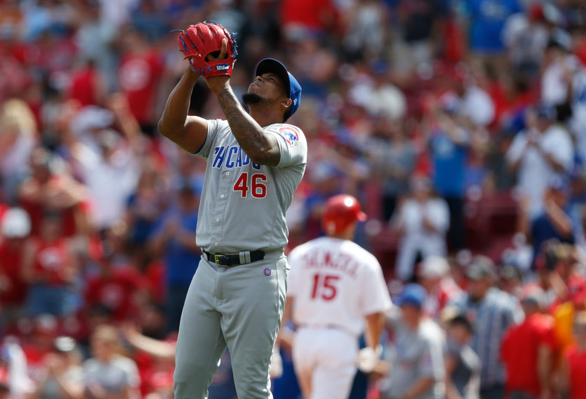 Chicago Cubs relief pitcher Pedro Strop (46) reacts after his team's win over the Cincinnati Reds in a baseball game, Sunday, Aug. 11, 2019, in Cincinnati. (AP Photo/Gary Landers)