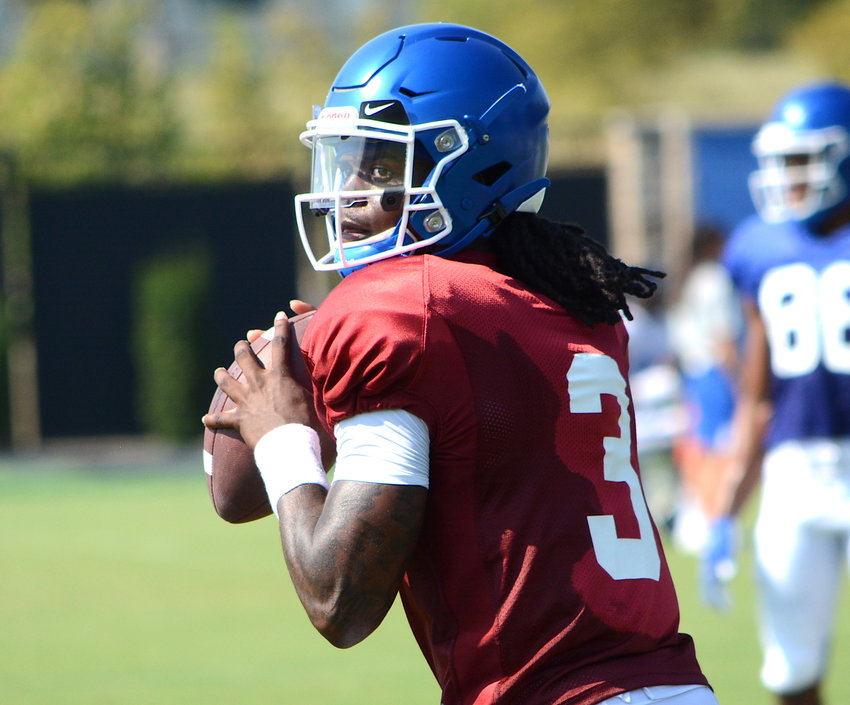 Kentucky quarterback Terry Wilson throws a pass during an open practice last year. (Kentucky Today/Keith Taylor)