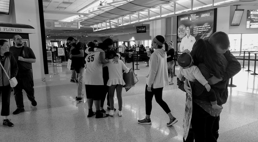 The nine-member mission team from Ninth & O Baptist Church in Louisville arrived safely Monday with friends and family greeting them after an extra stay in Eucador. (Ninth & O Baptist Facebook page)