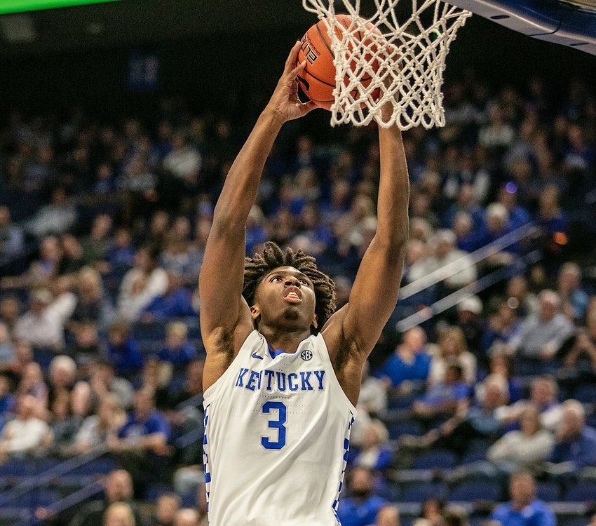 Tyrese Maxey goes up for a slam dunk in Kentucky's exhibition win over Georgetown College last Sunday at Rupp Arena. (Kentucky Today/Tammie Brown)