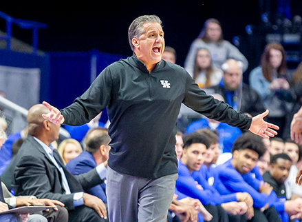 John Calipari yells instructions to his team in an 83-51 win over Kentucky State last Friday night at Rupp Arena. The Wildcats open the season Tuesday night against Michigan State in the State Farm Champions Classic. (Kentucky Today/Tammie Brown)