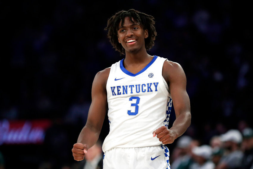 Kentucky guard Tyrese Maxey reacts after making a basket during the second half of an NCAA college basketball game against Michigan State early Wednesday, Nov. 6, 2019, in New York. Kentucky won 69-62. (AP Photo/Adam Hunger)