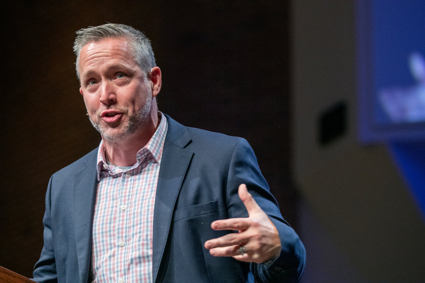 Southern Baptist Convention President J.D. Greear headlined the Kentucky Baptist Pastors' Conference held at Immanuel Baptist Church in Lexington, Ky., on Monday, Nov. 11, 2019. He wrapped up  the event talking about the Christian's identity in Christ as it pertains to worldviews on sexual, political and racial identities. (Robin Cornetet/Kentucky Today)