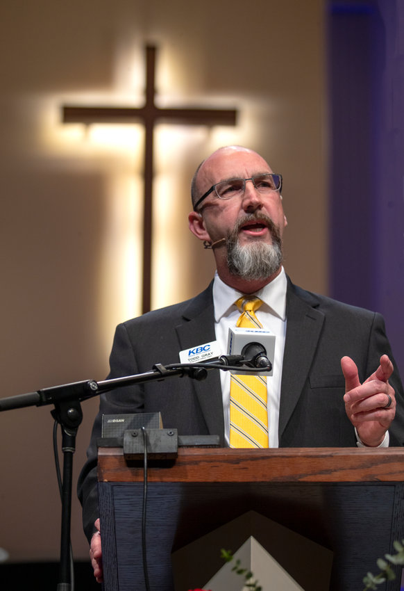 Todd Gray addressed messengers at the 182nd Kentucky Baptist Convention Annual Meeting for the first time as executive director-treasurer on Tuesday, Nov. 12, 2019. The annual meeting was at Immanuel Baptist Church in Lexington. (Robin Cornetet/Kentucky Today)