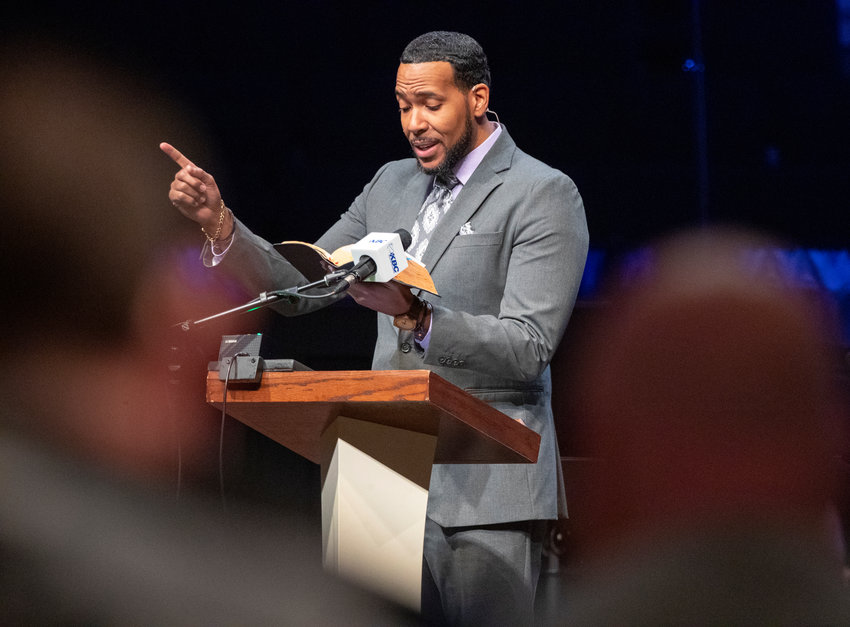 Nate Bishop, pastor of Forest Baptist Church in Louisville, gave the convention sermon at the 182nd Annual Meeting of the Kentucky Baptist Convention. (Robin Cornetet/Kentucky Today)