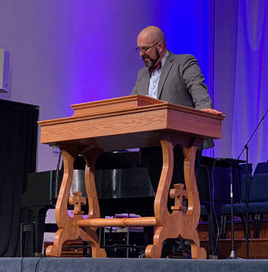 Rose Hill Baptist Church Pastor Mike Shamblin behind his new custom-made pulpit that is a replica of the one Charles Spurgeon used.