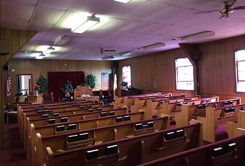 The inside of the sanctuary of Belmont Baptist Church in Ashland.